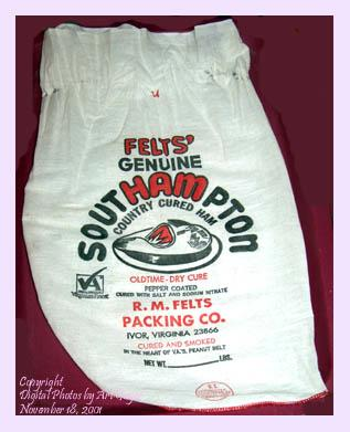 Country ham packaging bag.